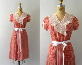 1930s Vintage Dress - 30s Red Striped Cotton Day Dress