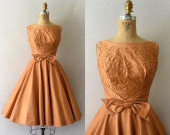 1950s Vintage Dress - 50s Gidget Golden Orange Party Dress