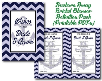 Anchors Away Bridal Shower 2 Printables | Activities | PDF | Nautical | Boats | Coastal | Beach | Sailors | Bride and Groom