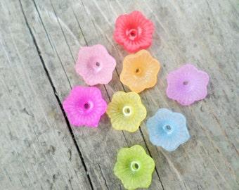 Lucite Flower Beads Pastel Assortment 12mm X 4mm 20pcs (Item Number PLF124)