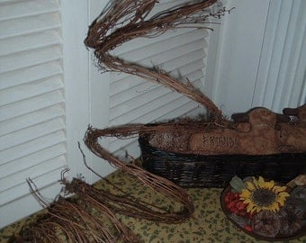 TWO 15' Thin Twig Grapevine Garland 30' Total  Wedding Rustic Primitive Natural
