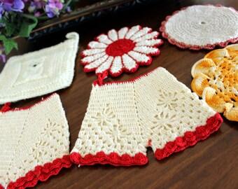 6 Vintage Potholders, Crochet Heatpad Lot, Hand Made 13431
