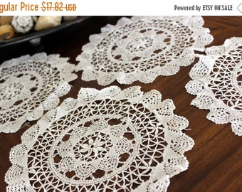 4 Lace Doilies, White Doily, Chinese Butterfly Lace, Vintage Lace Doily Lot 13133