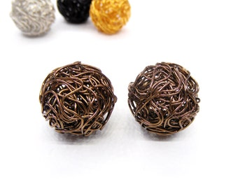 Bronze Steel Wire Beads, Wire Ball Beads, Wire Mesh Beads, Round Wire Beads, Hollow Twist Wire Ball Beads, 18mm - 2 pieces
