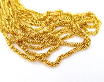 Gold Plated Steel Chain, Hollow Mesh Chain, Net Chain, Round Chain 3mm- 7 1/2 inches/19cm (1 piece)