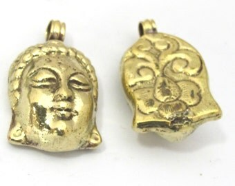 1 Pendant - Tibetan solid brass Buddha face pendant with reverse side floral carving from Nepal  - PM464