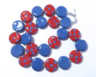 Beaded Necklace, Ceramic Jewelry, Kazuri Bead Necklace, French Blue and Red