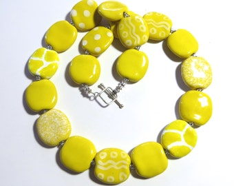 Yellow Beaded Necklace, Kazuri Bead Necklace, Fair Trade, Ceramic Jewelry