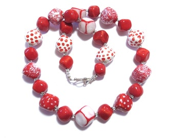 Ceramic Jewelry, Kazuri Bead Necklace, Red and White kazuri Necklace