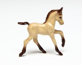 Hagen Renaker Mini Running Foal Figurine - Buckskin Horse - Ceramic Animal