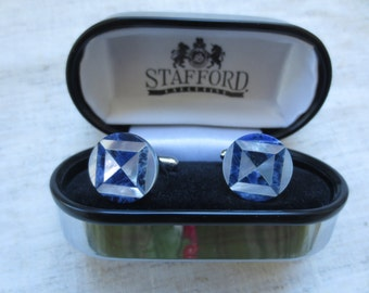 Vintage mother of pearl harlequin design Stafford silver tone cuff links. Lot of 1 pair.
