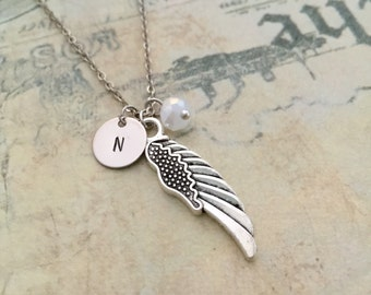 Wing Necklace, Initial Necklace, Hand Stamped Necklace, Best Friend Gift, Gift Ideas, Bridesmaid Necklace,