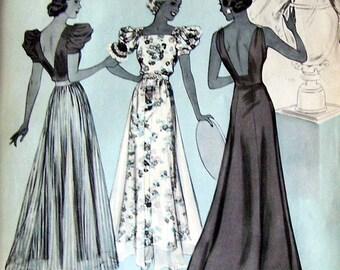1937 McCalls Pattern Fashion Ad, Magazine Illustration, Magazine Print Page Ad, Great Elegance Long Skirted Dresses, Daylight Dining Fashion