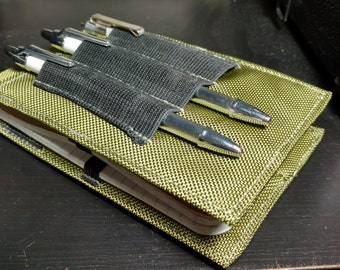 "Tactical Investigator I, Field Notebook Cover (in OD Green Ballistic Nylon) with Black Elastic Pen Holder - Size 6"" X 3 5/8"""