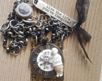 Handmade Vintage Frozen Charlotte Pendant Necklace with Type Writer Clasp
