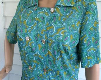 Shelton Stroller Print Dress Vintage 60s Blue Green Paisley Nylon 38 Bust 30 Waist