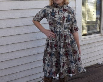 1950s Girls Print Dress Vintage 50s Novelty Junior Petite The Cottager 22 Waist