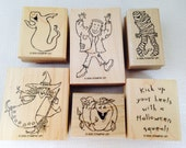 Stampin Up Halloween Set of Wood Block Rubber Stamps, 2005 Hey Ghoul Friend, Frankenstein, A Mummy, Ghost, Wicked Nice Witch, Pumpkin,Saying