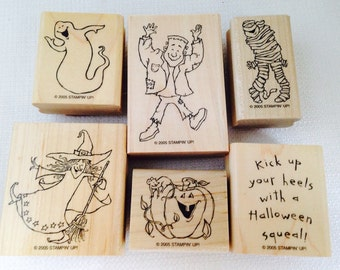 Stampin Up Halloween Wood Block Rubber Stamps, 2005 Hey Ghoul Friend, Frankenstein, A Mummy, Ghost, Wicked Nice Witch, Pumpkin