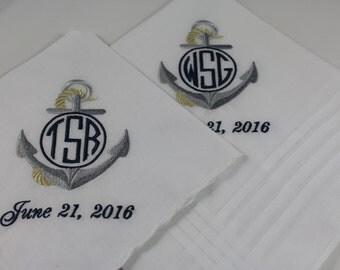Set of 2 Anchor Monogram Embroidered Wedding Handkerchiefs Nautical Wedding Gift Keepsake Favors by Simply Sweet Hankies