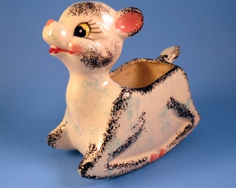 Japan Vintage Nursery DEER Baby Planter Ceramic Mid Century