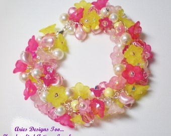 Pink & Yellow Floral Charm Bracelet, Loaded Flower Charm Bracelet,Lucite Bracelet,Crystal and Pearl Charm Bracelet