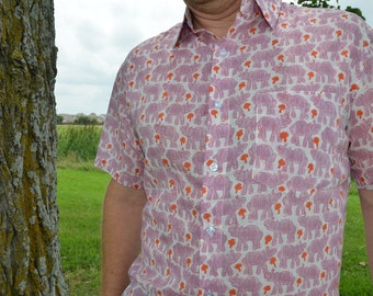 Men's Animal Hand Block Printed Indian Woven Cotton Short Sleeve Button Down Pocket Shirt - Pink Elephants on White - Norsu I876