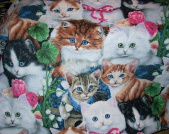"""Cats with ribbon Fleece Blanket - Finished Sewn Edges - 2 layers of fleece - 70"""" x 59"""""""