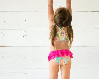 girls monogrammed swimsuit, paisley swimsuit, toddler swimwear