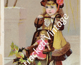 Lautz Bros and Cos soaps ad, vintage Victorian soap ad, little Victorian girl pushing doll in carriage, early 1900s Christmas or winter ad