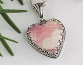 Bohemian Heart Rhodochrosite Necklace, Sterling Silver Jewelry, Valentine Necklace