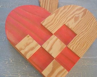 Vintage SWEDISH Wooden Heart Pine Basket Weave Wall Pocket