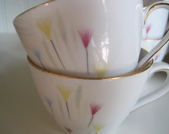 VINTAGE pastels and white porcelain tea cups made in Bavaria Germany set of four in pastel colors