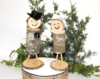 Rustic Wedding Real Stick Figures Bride & Groom ~ Country  Cake Topper ~ Wooden Cowboy Cake Topper ~ Woodland wedding cake topper
