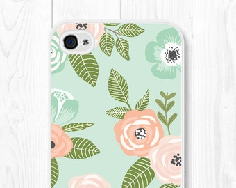 Floral iPhone 7 Case Mint iPhone 6s Case Mom Floral iPhone 6 Case iPhone SE Case Floral iPhone 6 Plus Case Floral Phone Case iPhone 5s Case