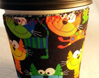 Cup cozy, coffee cup sleeve, reusable: silly cats