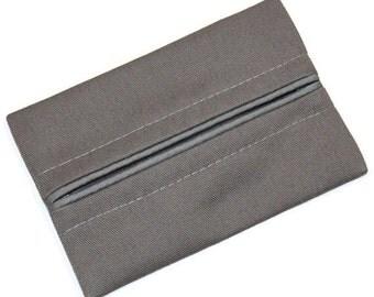Mens Gift, Travel Tissue Holder, Mens Charcoal Grey,  Pocket Tissue Holder, Fabric Tissue Case