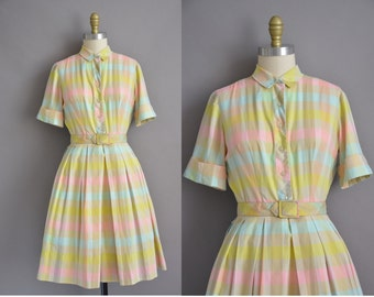 50s L'AIGLON pastel plaid cotton vintage dress / vintage 1950s dress