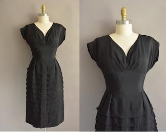 50 black rayon cocktail tier vintage wiggle dress / vintage 1950s dress