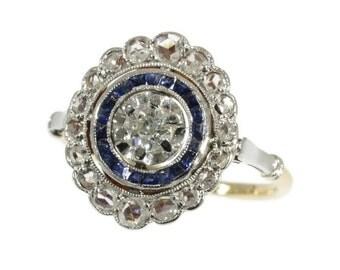 Sapphire Engagement Ring Diamond 18K Yellow Gold Art Deco Ring Size 5