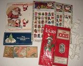 Vintage Christmas Items, Store Display, Vinyl Stick-ons, Icicles, Avon Christmas Surprise Calendar, Reindeer