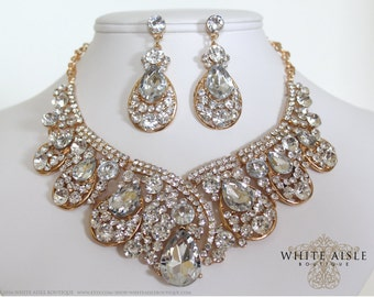 Gold Bridal Jewelry Set, Crystal Statement Necklace Earrings, Vintage Inspired Rhinestone Necklace, Wedding Jewelry