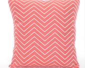 Coral Chevron Pillow Covers, Decorative Throw Pillow, Cushion Covers, Coral White Chevron Zig Zag Euro Sham Couch Bed Sofa Pillows ALL SIZES
