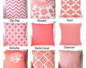 Coral Pillow Covers, Decorative Throw Pillows, Cushion Covers, Coral White Chevron Euro Sham Couch Bed, Mix & Match One or More All Sizes