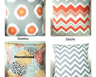 Orange Gray Pillow Covers, Decorative Throw Pillow, Cushion Covers, Orange Grey White Chevron Damask, One or More Mix & Match ALL SIZES