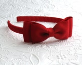 Girls Red Bow Christmas Headband ~ Toddler Headband ~ Red Hair Bow