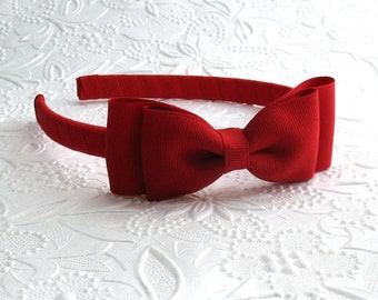 Valentine's Day Girls Red Bow Headband ~ Toddler Headband ~ Red Hair Bow ~ Adult Red Christmas Bow Headband