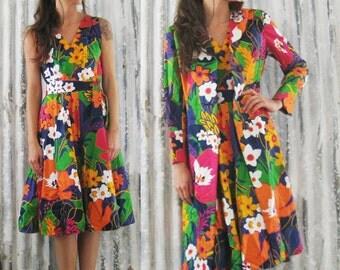 Vintage 60's Floral Jacket and Dress 2 Piece / Midi Dress Jacket / Mod Retro Women M 8-10