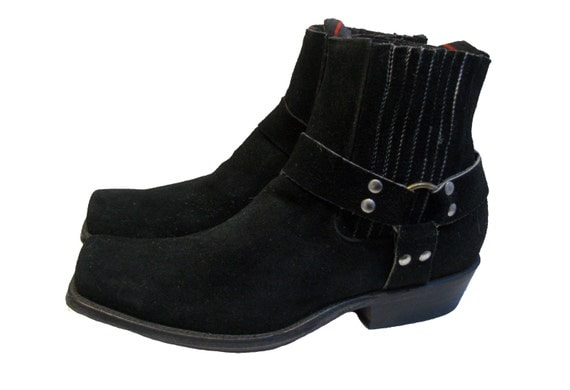 Vintage NaNa Harness Boots Mens Black Suede Ankle High