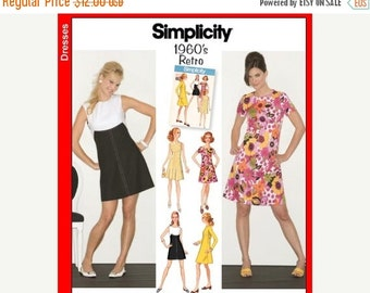 ON SALE Sz 6/8/10/12/14 - Misses' Front Yoked A-Line Dress in Four Variations - Reissued Vintage 1960's Pattern - Simplicity Retro Pattern 3